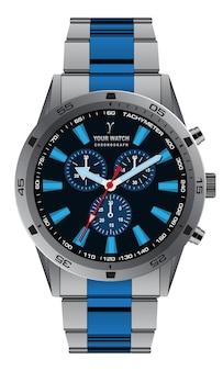 Realistische horlogeklok chronograaf grijsblauwe metalen wijzerplaat voor herenmode op wit