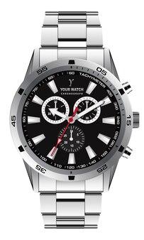 Realistische horlogeklok chronograaf zilver donkergrijze wijzerplaat voor herenmode