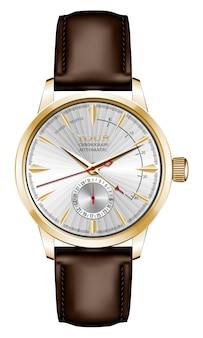 Realistische horlogeklok goud zilver bruin lederen band rode pijl op wit design klassieke luxe