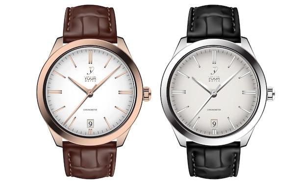 Realistische horlogeklok goud zilver lederen band zwart bruin collectie