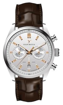 Realistische horlogeklok zilver goud lederen band bruin op wit design klassiek luxe
