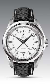 Realistische horlogeklok zilver wit gezicht zwarte pijl nummer met stoffen band op grijze klassieker