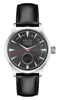 Realistische horlogeklok zilver zwart lederen band rode pijl op wit design klassieke luxe