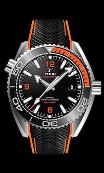 Realistische horlogeklok zilver zwart oranje wijzerplaat met stoffen band op geïsoleerd design klassieke luxe