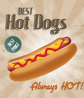 Realistische hotdogillustratie