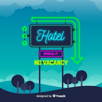Realistische hotel neon teken