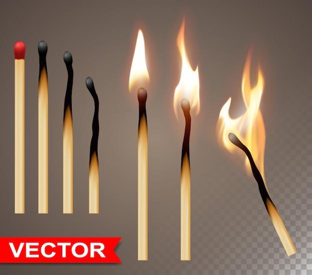 Realistische houten brandende lucifers met vlam