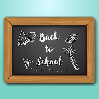Realistische houten schoolbord achtergrond