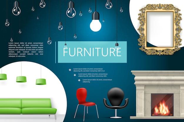Realistische huis interieurelementen samenstelling met open haard stoelen groene sofa lampen decoratieve frame lampen
