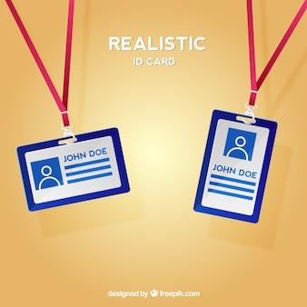 Realistische identiteitskaart met gesp en vanglijnen