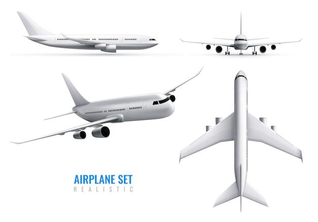 Realistische identiteitsreeks van burgerluchtvaartuigen van wit vliegtuig in geïsoleerde zijaanzicht en vooraanzicht