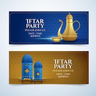 Realistische iftar-bannerset