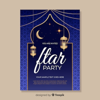 Realistische iftar uitnodigingssjabloon