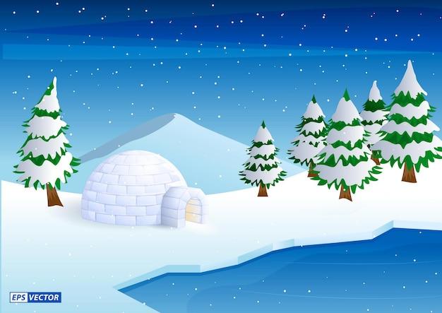 Realistische iglo-koepel of iglo-ijshuis cartoonstijl of sneeuwijs huis van de eskimo's