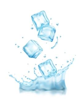 Realistische ijsblokjes spatten samenstelling met uitzicht op kubussen die in koud water vallen met druppels illustratie