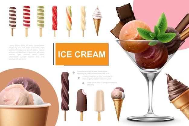 Realistische ijscollectie met lolly, fruit, karamelijs, ijslolly, kleurrijke scheppen, muntblaadjes en chocoladerepen in glas