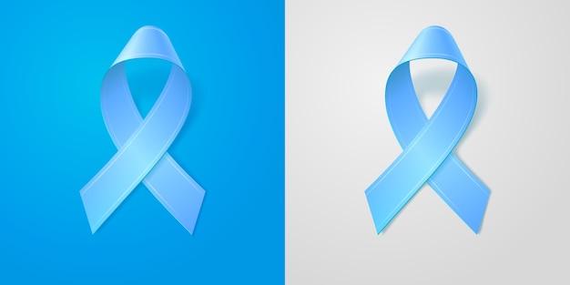 Realistische illustratie blauw lint met zachte schaduw op blauwe en grijze geïsoleerde achtergrond. prostaatkanker bewustzijn symbool. bewerkbare sjabloon voor ontwerp. 3d-pictogram.