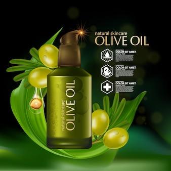 Realistische illustratie cosmetica met ingrediënten olijfolie huidverzorging cosmetica