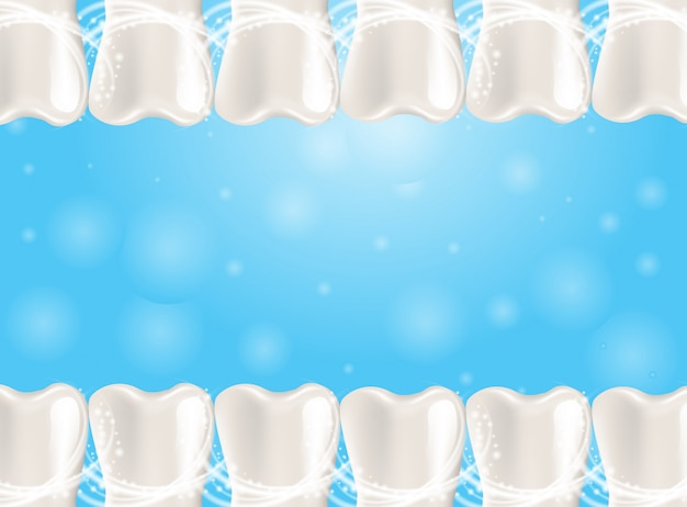 Realistische illustratie gezonde tanden in 3d-vector achtergrond