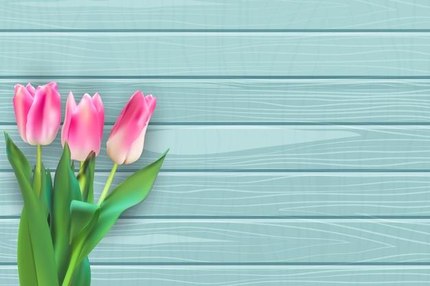 Realistische illustratie kleurrijke tulpen achtergrond Premium Vector