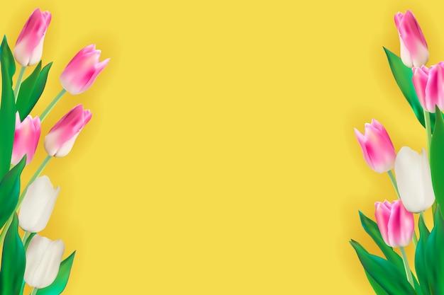 Realistische illustratie kleurrijke tulpen achtergrond