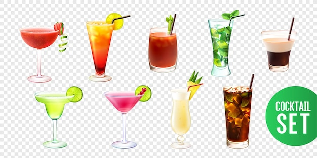 Realistische illustratie set met tien alcoholische cocktails geïsoleerd