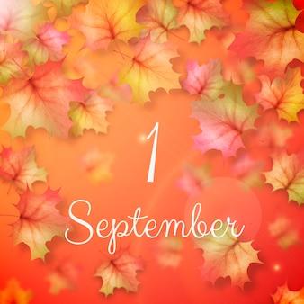 Realistische illustratie van 1 september met herfstbladeren