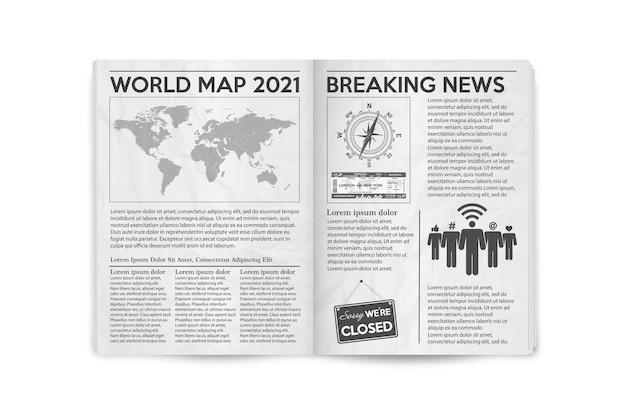 Realistische illustratie van de pagina uitgespreide krantenlay-out