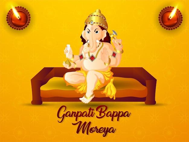 Realistische illustratie van gelukkige ganesha chaturthi-viering met lord ganesha-illustratie