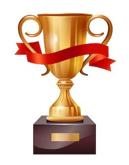 Realistische illustratie van gouden beker met rood lint. winnaar, leider, kampioen.