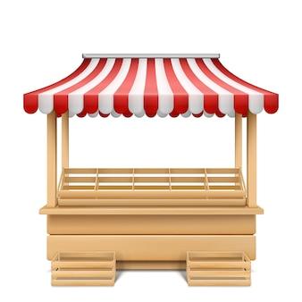 Realistische illustratie van lege marktkraam met rood en wit gestreepte luifel