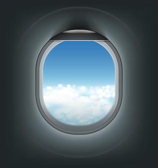 Realistische illustratie van vliegtuigverlichting met blauwe hemel met wolkenmening