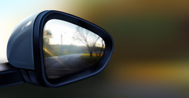 Realistische illustratie van zwarte achteruitkijkspiegel met reflectie