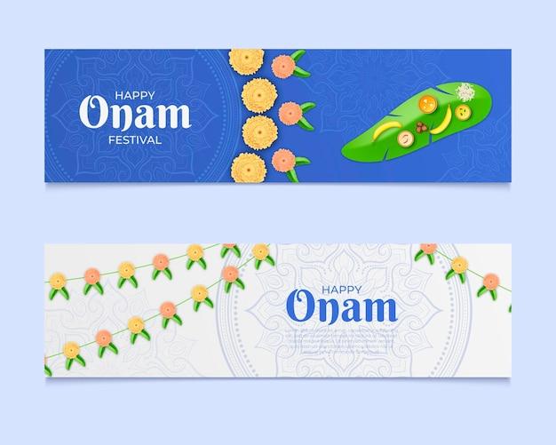 Realistische indiase onam banners set