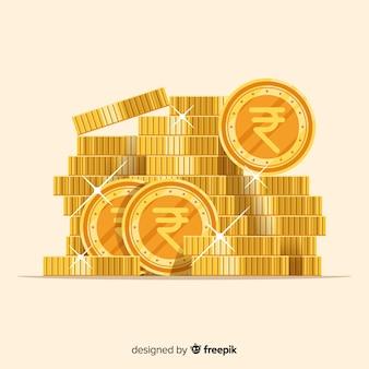 Realistische indiase rupee gouden munten stapel