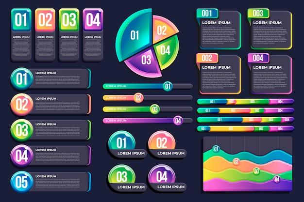 Realistische infographic elementenverzameling