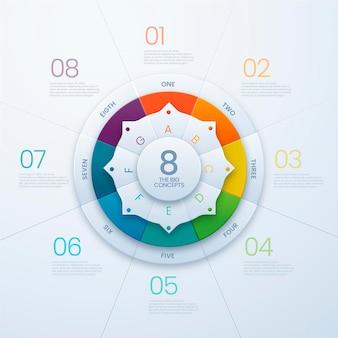 Realistische infographic sjabloon voor cirkeldiagram