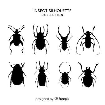 Realistische insecten silhouet collectie