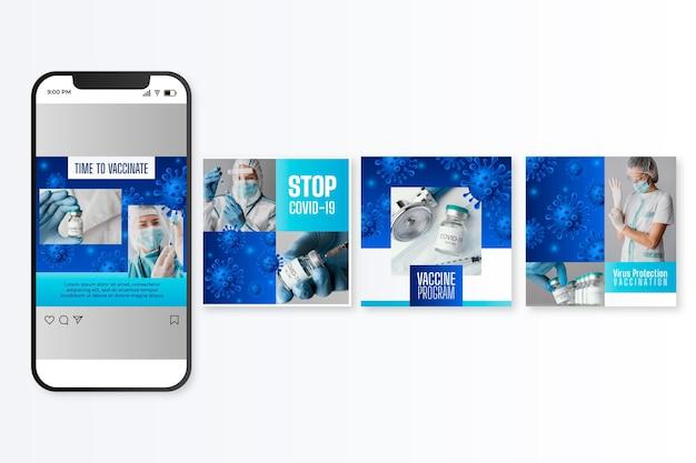 Realistische instagram-postverzameling voor vaccins