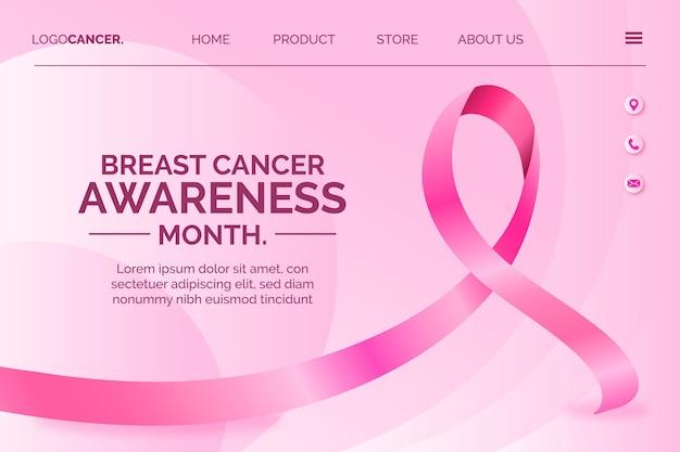Realistische internationale dag tegen borstkanker bestemmingspaginasjabloon