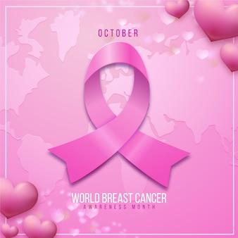 Realistische internationale dag tegen borstkankerillustratie