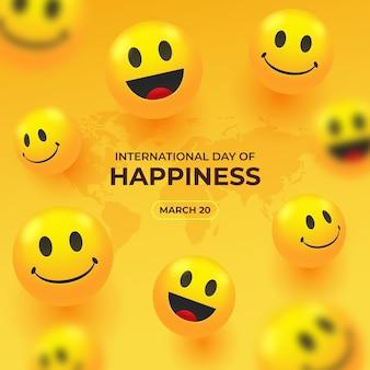 Realistische internationale dag van geluk illustratie
