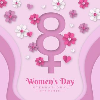 Realistische internationale vrouwendag illustratie in papieren stijl