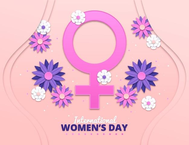 Realistische internationale vrouwendag illustratie met bloemen en vrouwelijk symbool