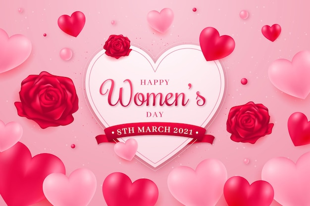 Realistische internationale vrouwendag illustratie