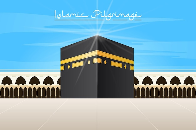 Realistische islamitische bedevaart en blauwe hemel