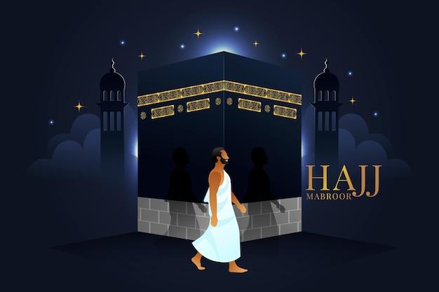 Realistische islamitische hadj bedevaart illustratie