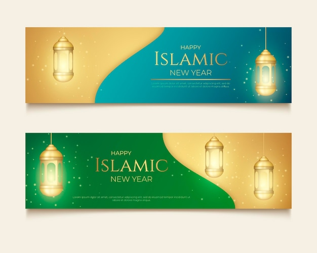 Realistische islamitische nieuwjaarsbanners ingesteld
