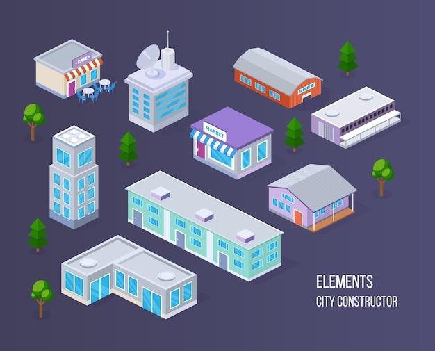 Realistische isometrisch van moderne gebouwen en stedelijke landschapsinfrastructuur.