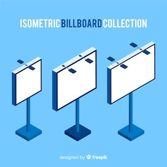 Realistische isometrische billboard-collectie